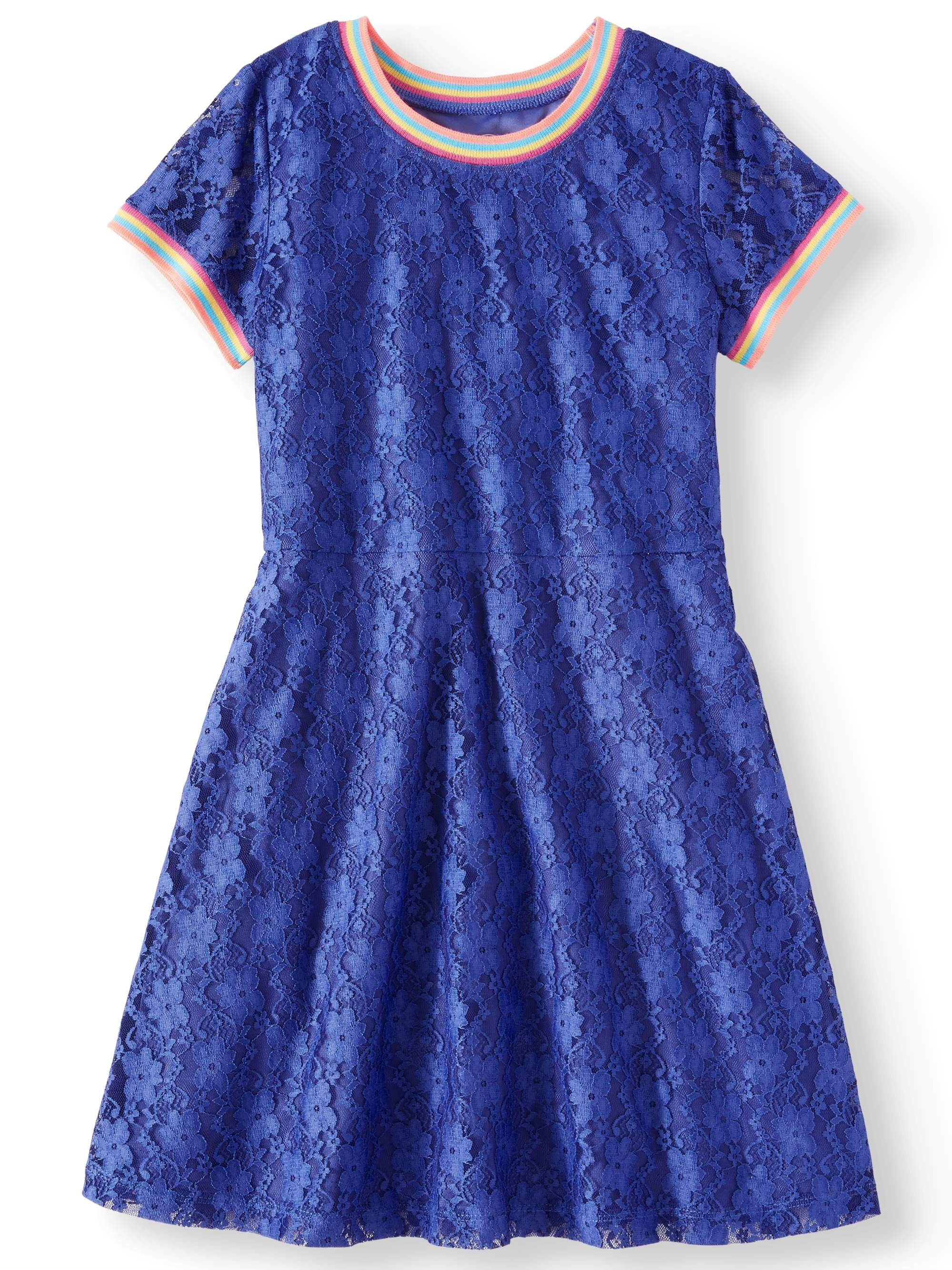 Rainbow Trim Lace Dress (Little Girls, Big Girls & Big Girls Plus)
