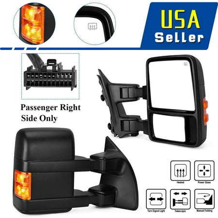 Passenger Right Tow Mirror for 08-16 Ford F250 F350 Power Heated Turn Signal