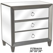 Crestview Sebastian Metallic Silver And Beveled Mirror 3 Drawer Chest CVFZR4610
