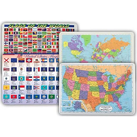 World Map Usa Map Flags Of World Flags Of Us States Placemat For - Us-full-map