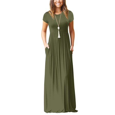 17770368a1 Women's Maxi Skirt Pure Color Simple Relaxed Leisure Spring And Summer  Short Sleeves Long Skirt With Pockets