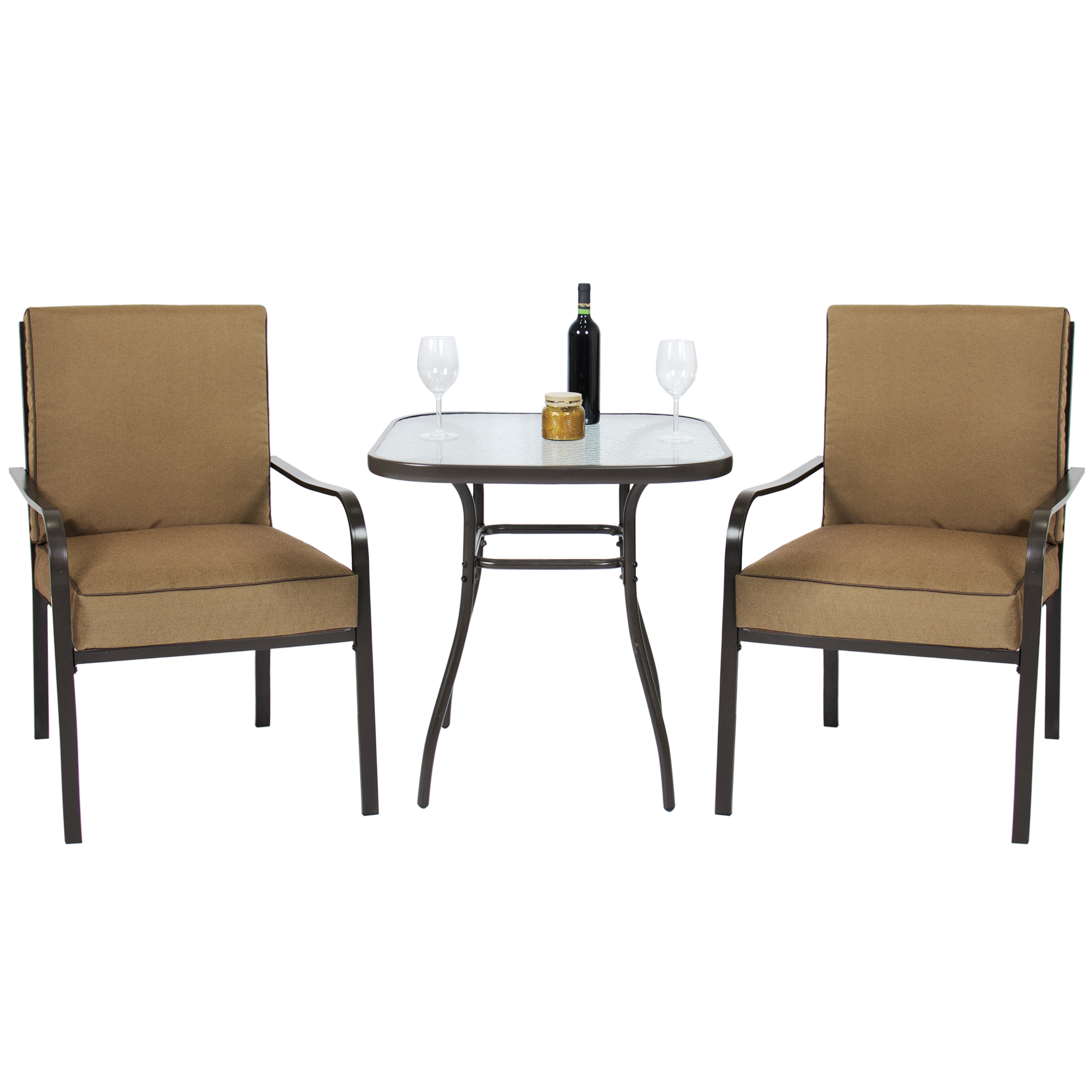 Best Choice Products 3pc Outdoor Patio Bistro Set W  Glass Top Table, 2 Chairs W  Cushions by Best Choice Products