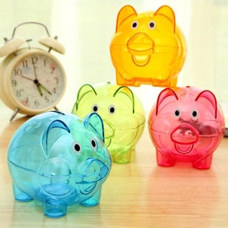 Moderna Clear Lovely Piggy Bank Plastic Coin Cash Money Saving Box Openable Kids (Cash Box Bank)