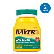 (2 Pack) Aspirin Regimen Bayer Low Dose Pain Reliever Enteric Coated Tablets, 81mg, 300 Ct