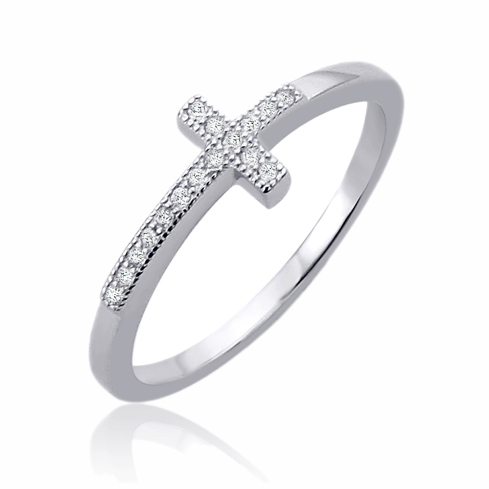 Men Women Sterling Silver 7mm Sideway Cross CZ Engagement Ring