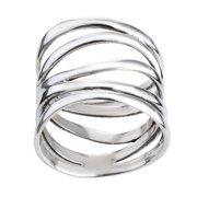 Aeravida Handmade Wide Five Band Coil Wrap Sterling Silver Ring (Thailand)
