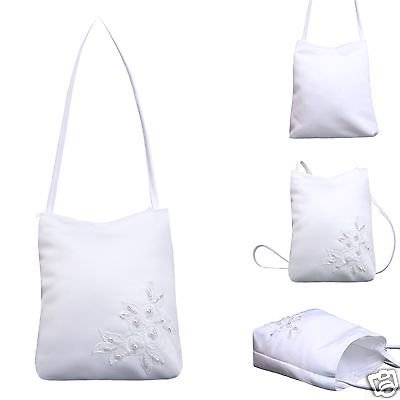 L11 White Pearls Purse Handbag Gift 1st Communion Bridal Wedding Flower Girl