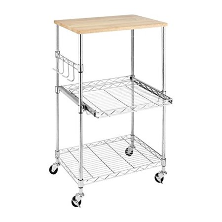 Whitmor Supreme Microwave Cart With Locking Wheels Chrome Food Safe Cutting Board