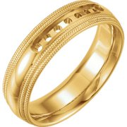 14K Yellow 5mm Half Round Comfort Fit Double Milgrain Band Mounting Size 11