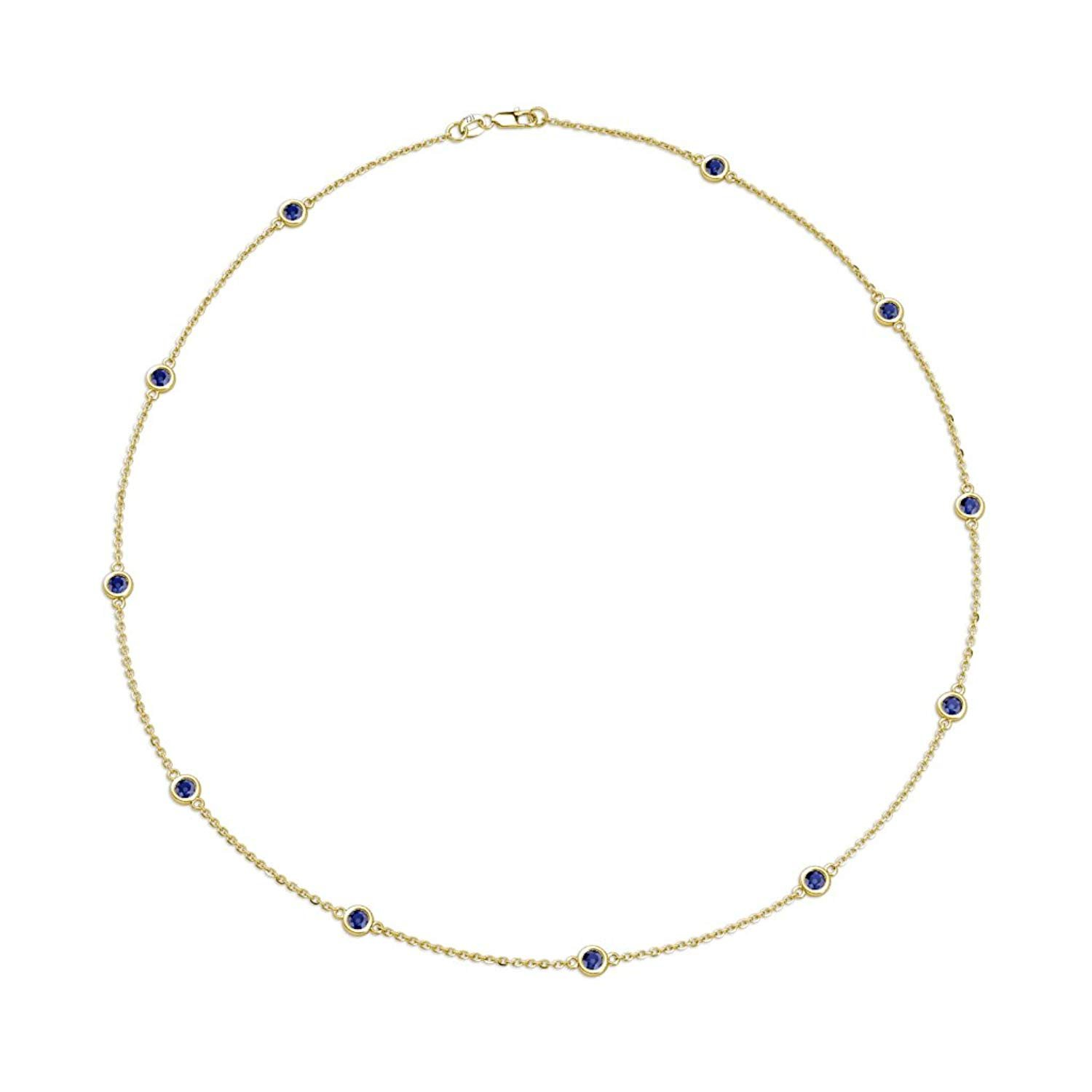 11 Station Blue Sapphire on Cable Necklace 0.80 Carat tw in 14K Yellow Gold.18 Inches in Length by TriJewels