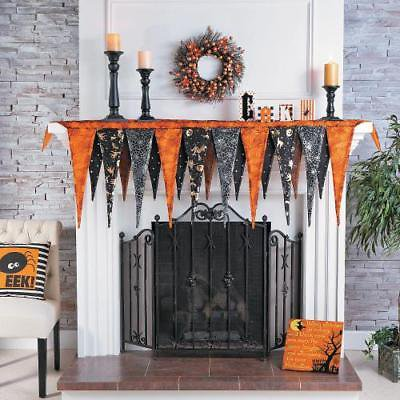 Pennant Mantel Scarf Halloween Decor (Halloween Mantel Decor)