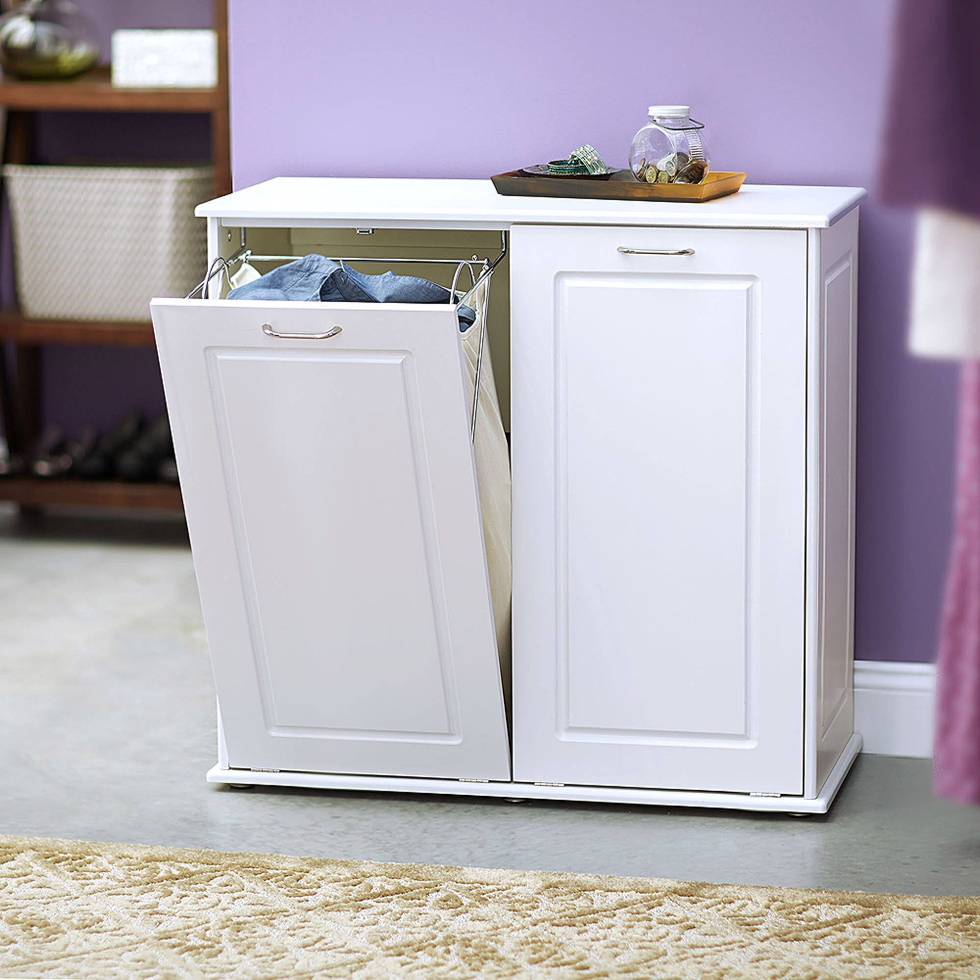 Charmant Household Essentials Tilt Out Laundry Sorter Cabinet, White   Walmart.com