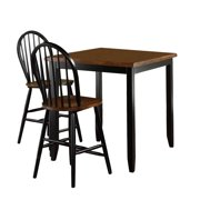 Sauder Furniture 415093 Edge Water Black Counter Dining Table + 2 Windsor Chairs