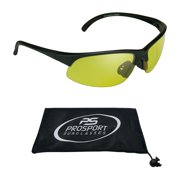 proSPORT Bifocal Reader Sunglasses Half Rim Sport Style with Yellow Lens for Night Driving or Riding