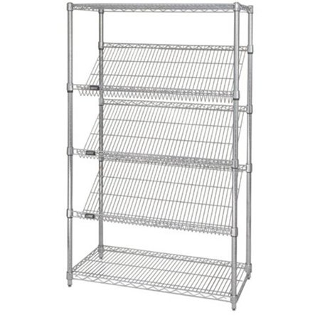 Stationary Chrome Wire Shelving Slanted Shelf Unit, 24 x 36 in.