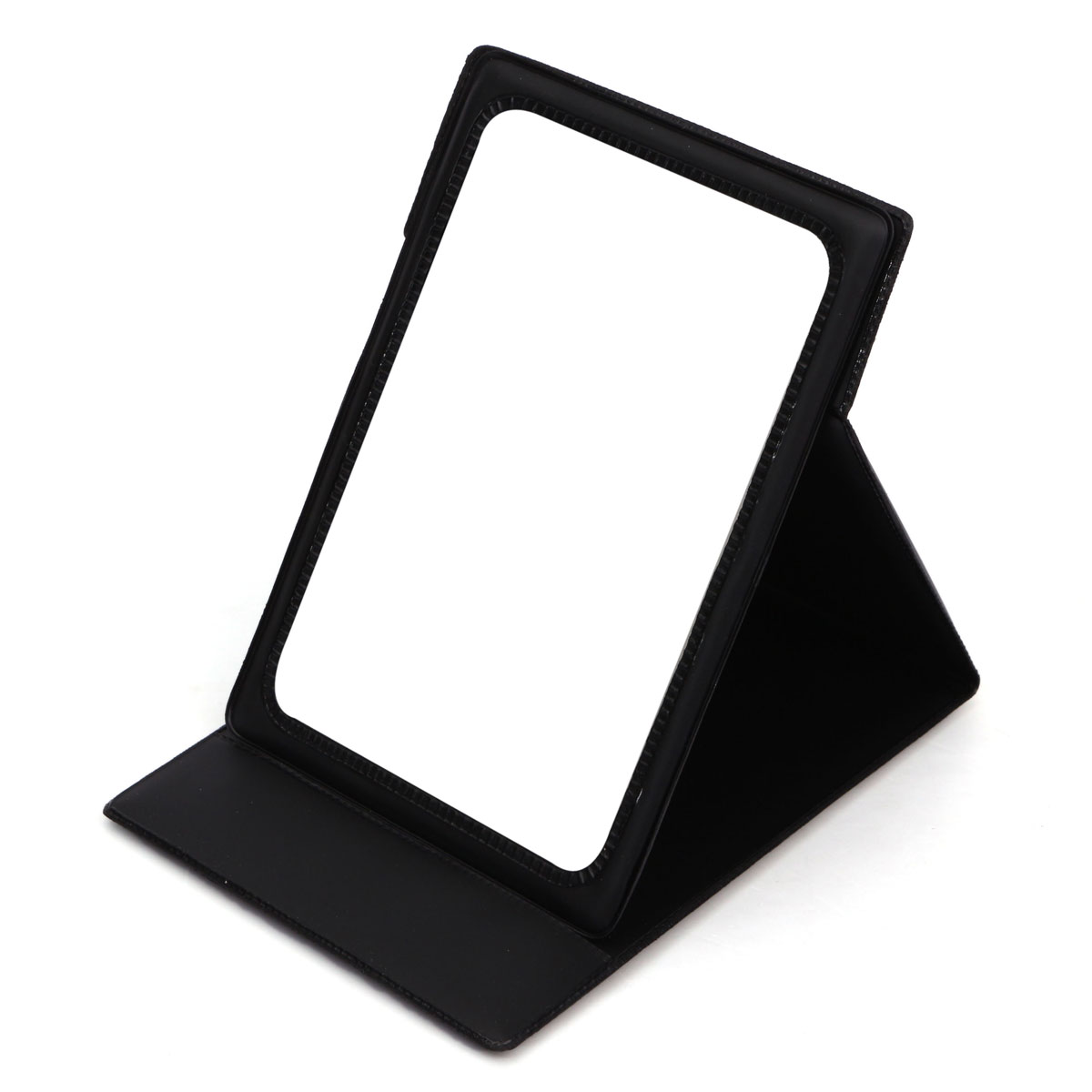 Portable Cosmetic Makeup Miror Folding Pocket Stand Compact Travel PU Leatherr