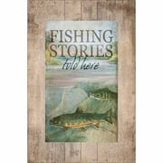 Fishing Stories Two Fish Brook Lake Lodge Wood Grain Distressed Painting Red & Green Canvas Art by Pied Piper Creative