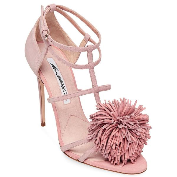 Brian Atwood Icim Blush Pink Kid Suede High Heel Single Sole Dainty Pompom Pumps