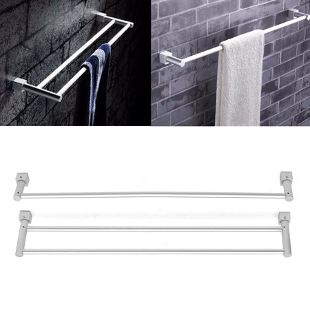 Stainless Steel Suction Cup Wall Mounted Double Towel Rail Holder Bathroom with Hook Storage Racks Bars SPECIAL Towel Racks TODAY