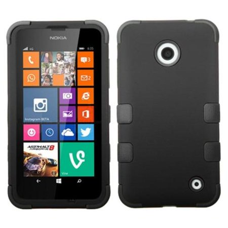 Insten Black Black Tuff Hybrid Phone Protector Cover Case For Nokia Lumia 630 635