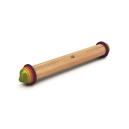 Joseph Joseph 20085 Adjustable Rolling Pin Removable Rings Beech Wood Classic for Baking Dough Pizza Pie Cookies,