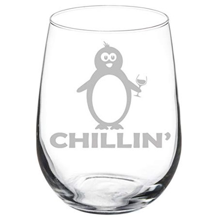 Wine Glass Goblet Funny Penguin Chillin (17 oz Stemless)](Penguin Wine Glass)