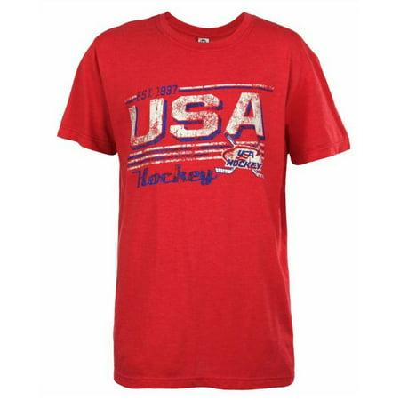 USA Hockey Adult Ice Hockey Red Distressed USA Logo T-Shirt Tee, Red 14012H