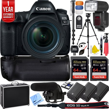 Canon 5D Mark IV EOS 30.4MP Full Frame DSLR Camera w/ EF 16-35mm f/2.8L III USM Lens Pro Memory Triple Battery & Grip SLR Video Recording Bundle - Newly Released 2018 Beach Camera Value (Panasonic Gh3 Vs Canon 5d Mark Iii)