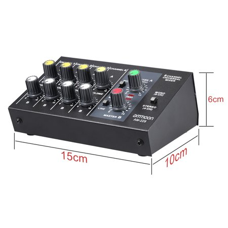 ammoon AM-228 Ultra-compact Low Noise 8 Channels Metal Mono Stereo Audio Sound Mixer with Power Adapter Cable - image 4 of 7