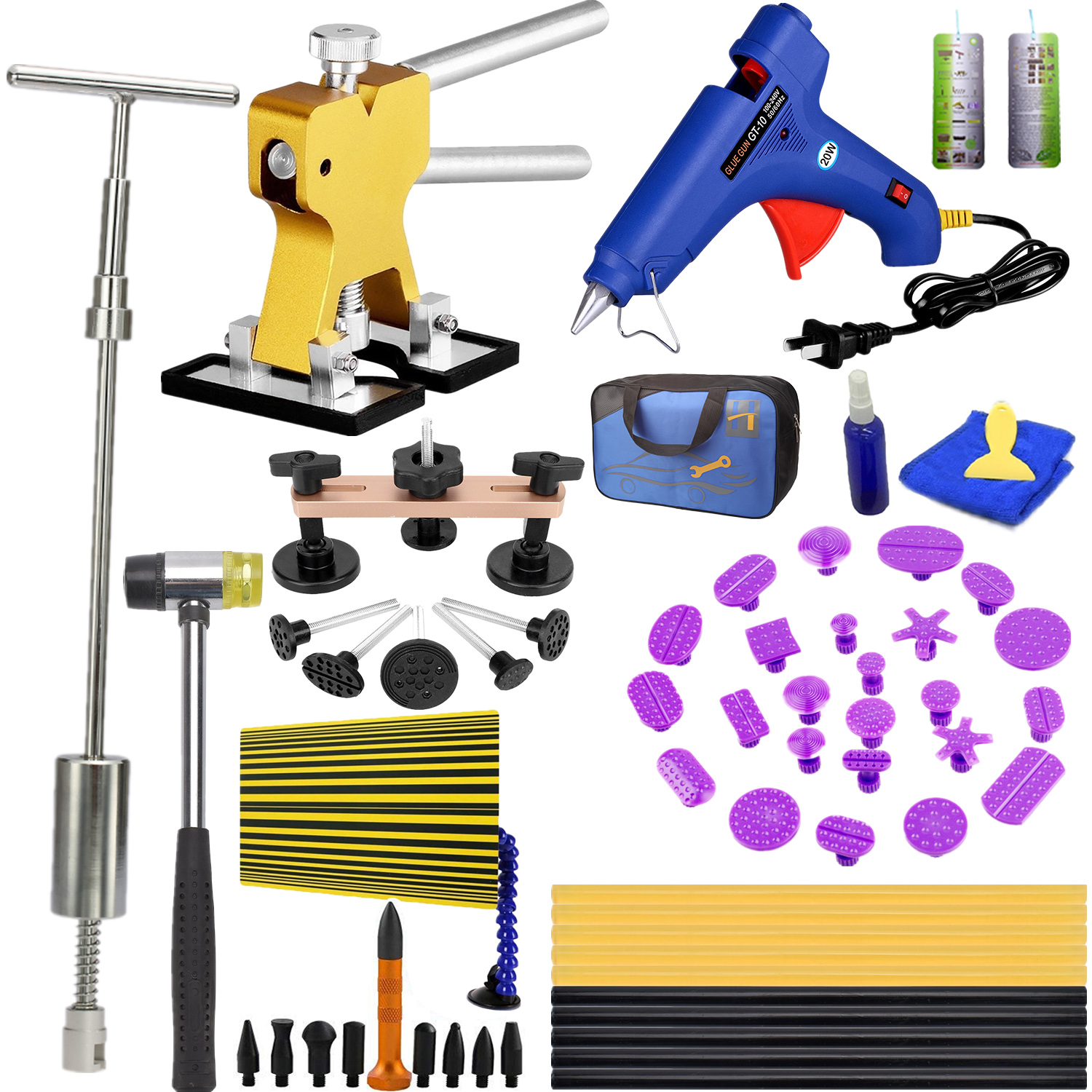 Paintless Dent Repair Tools Dent Puller Kits Pops a Car Dent Removal Kit, Slide Hammer & Glue Gun for Automobile Body Motorcycle Refrigerator Washer