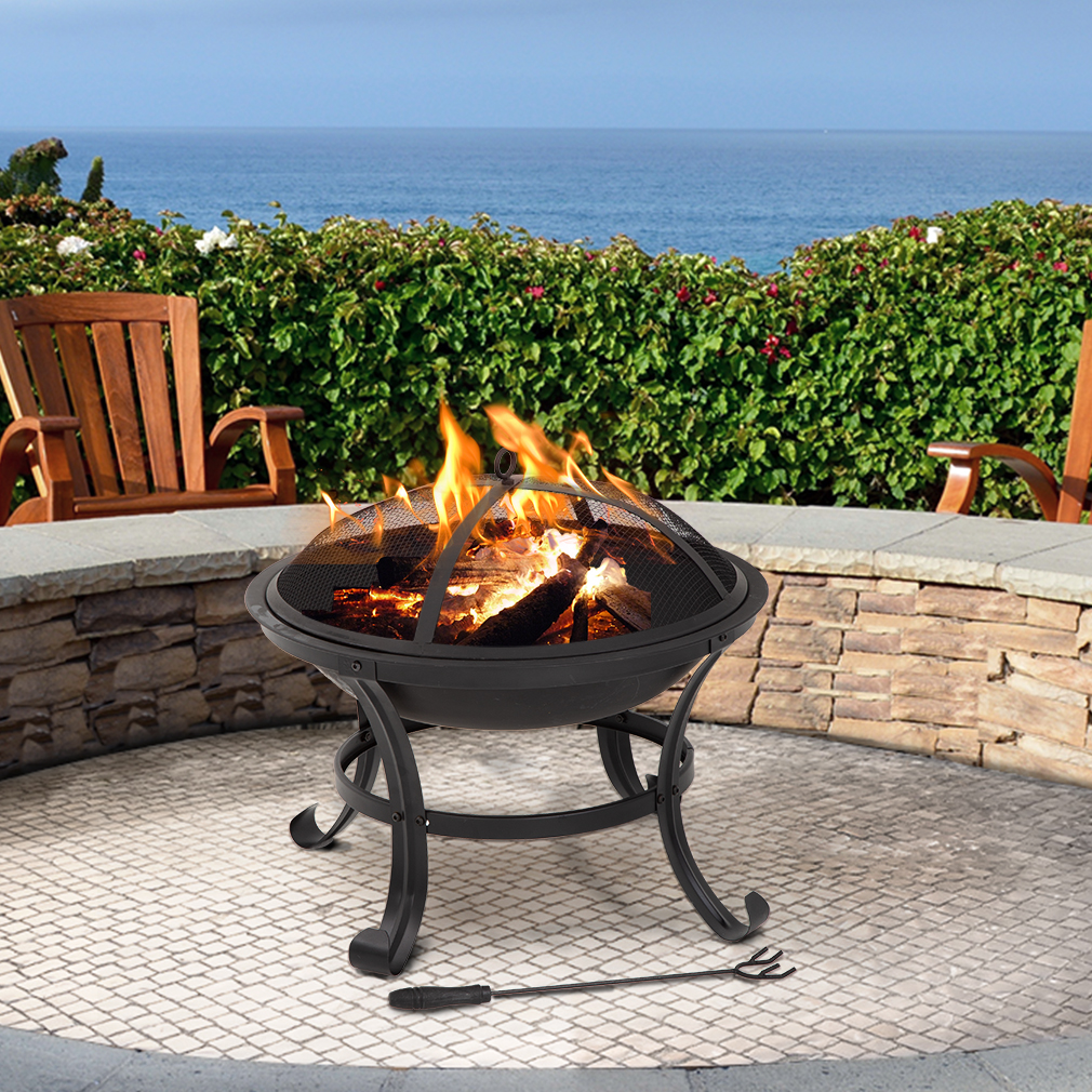 """24/"""" x 10/"""" Drop-in Fire Pit Pan W// Burner Fireplace Parts Traditional Bonfire"""