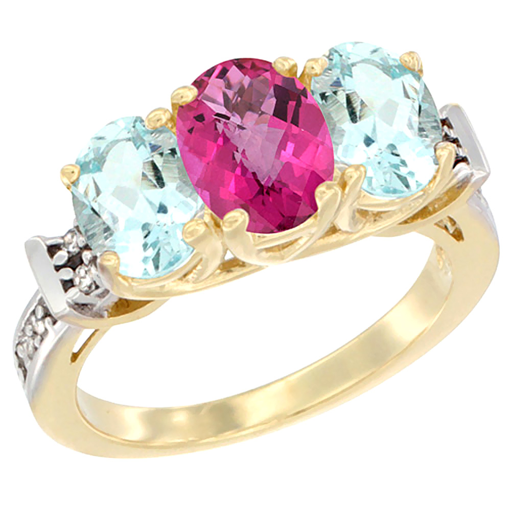 14K Yellow Gold Natural Pink Topaz & Aquamarine Sides Ring 3-Stone Oval Diamond Accent, sizes 5 10 by WorldJewels