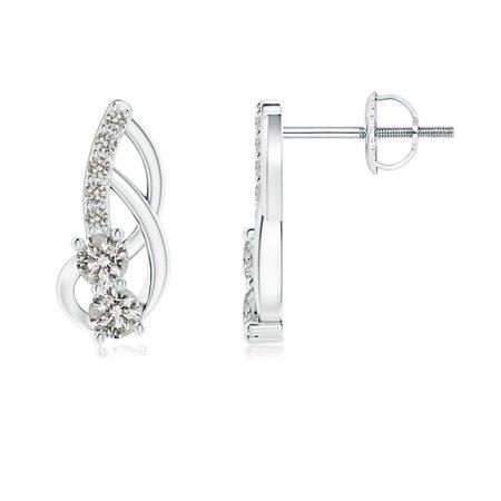 April Birthstone - Prong-Set Double Diamond Loop Earrings in 14K White Gold (2.5mm Diamond) - SE1215D-WG-KI3-2.5