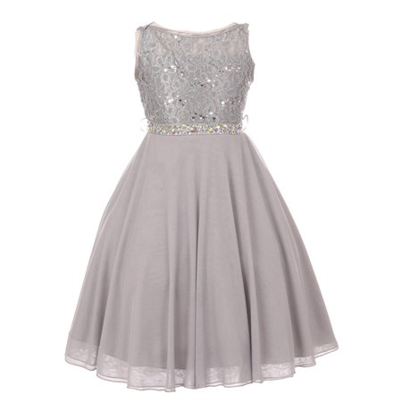 Girls Silver Sparkle Sequin Lace Chiffon Occasion Dress - Girls Silver Dresses