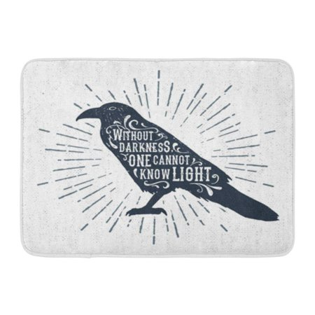 LADDKE Halloween Label Raven and Without Darkness One Cannot Know Light Inspirational Doormat Floor Rug Bath Mat 30x18 inch