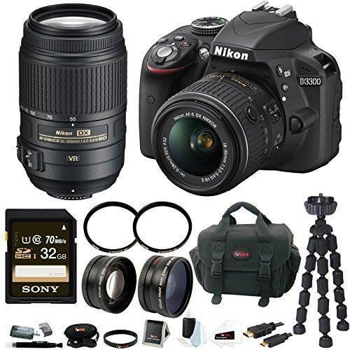 Nikon D3300 DSLR Camera with 18-55mm and 55-300mm Lens Bundle