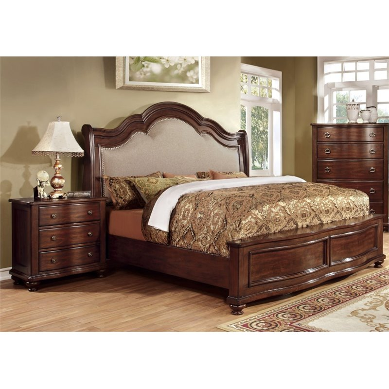 Furniture of America Marcella 2 Piece King  Panel Bedroom Set in Brown Cherry