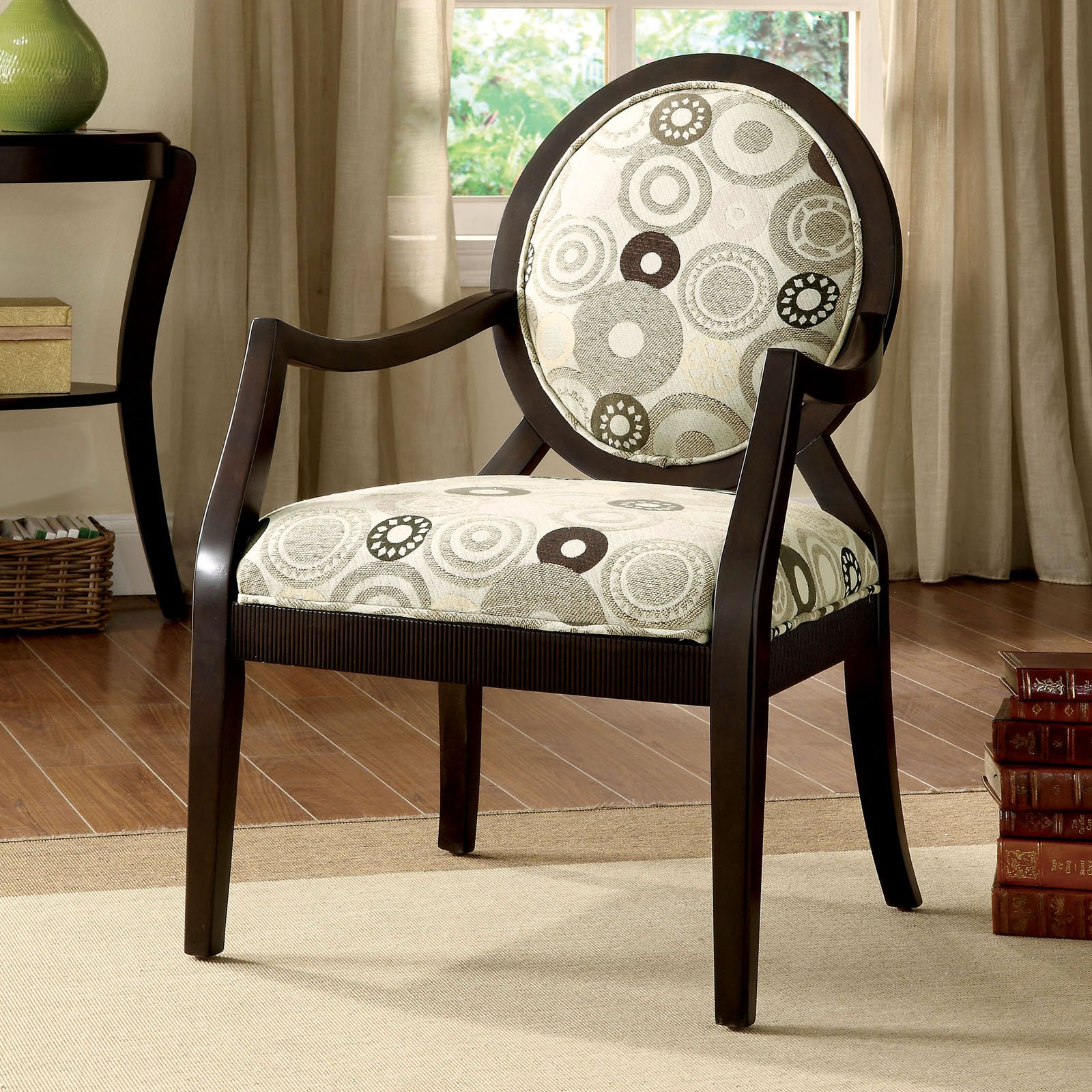 Ordinaire Furniture Of America Carla Oval Upholstered Arm Chair