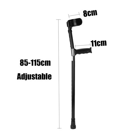 1 Pair Universial Aluminum Anti-slip Medical Adjustable Height Walking Forearm Crutches Walking Crutche Stick Lightweight Arm Cuff Elbow Armor Prevent-shaking Adult - image 2 de 9