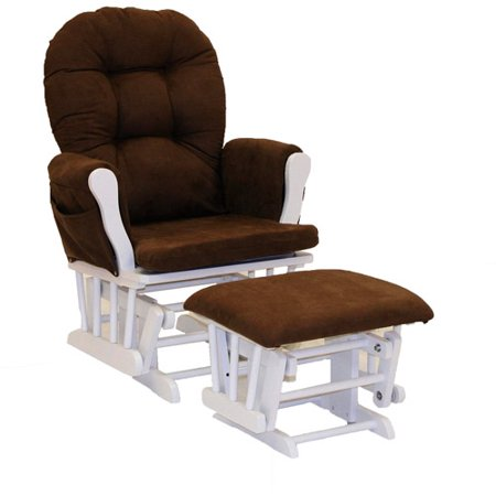 Storkcraft hoop glider and ottoman white with chocolate for Stork craft glider reviews