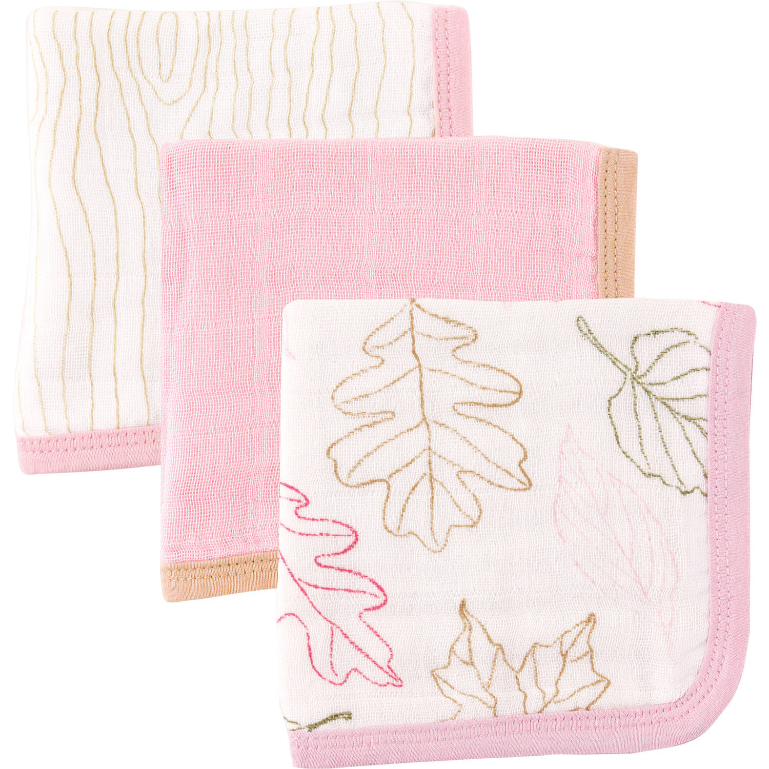 Touched by Nature Organic Muslin Washcloth, 3pk, Leaves Girl