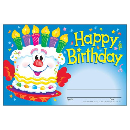 TREND enterprises, Inc. Happy Birthday Cake Recognition Awards, 30 ct, Recognize a special once-a-year day with a fun, special certificate. By Trend Enterprises Inc - Trendy Day