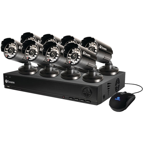 Swann SWDVK-810008-US 1000 8-Channel D1 DVR With 500GB Hard Disk Drive and 8 Cameras At 600 Tvl, Black