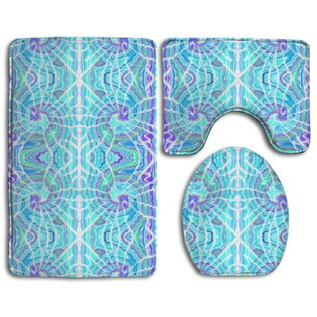 EREHome Tie Dye Spiral 3 Piece Bathroom Rugs Set Bath Rug Contour Mat and Toilet Lid Cover - image 1 de 2