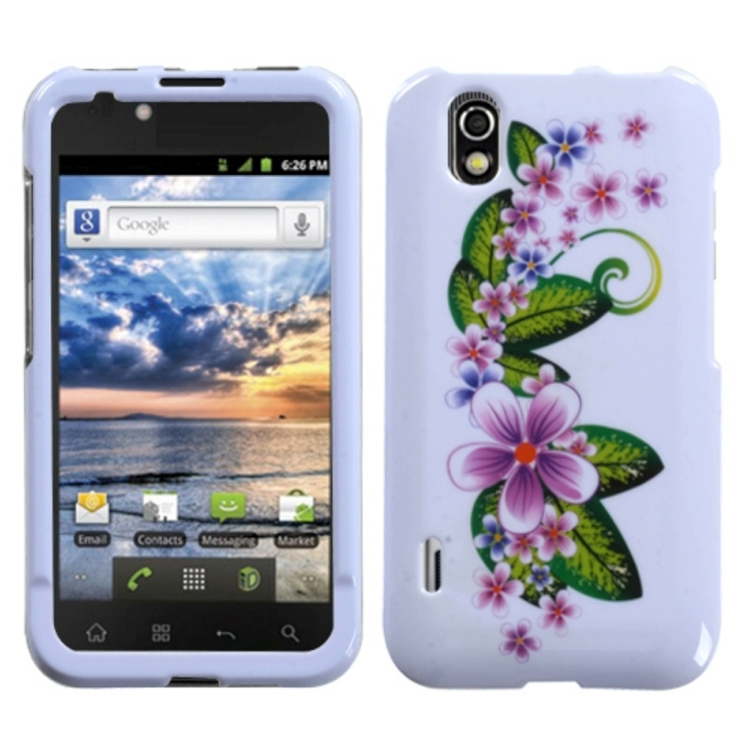 Insten Purple Small Flowers Phone Case for LG: LS855 (Marquee)