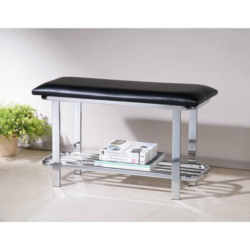 OH Black Bonded Leather Chrome Shoe Storage Bench