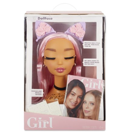 Who's That Girl Doll Face Styling Head with Comb, Accessories, Metallic Freckles, and Look