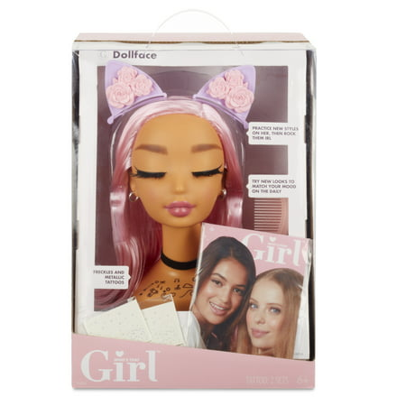 Who's That Girl Doll Face Styling Head with Comb, Accessories, Metallic Freckles, and Look - Girls School Accessories