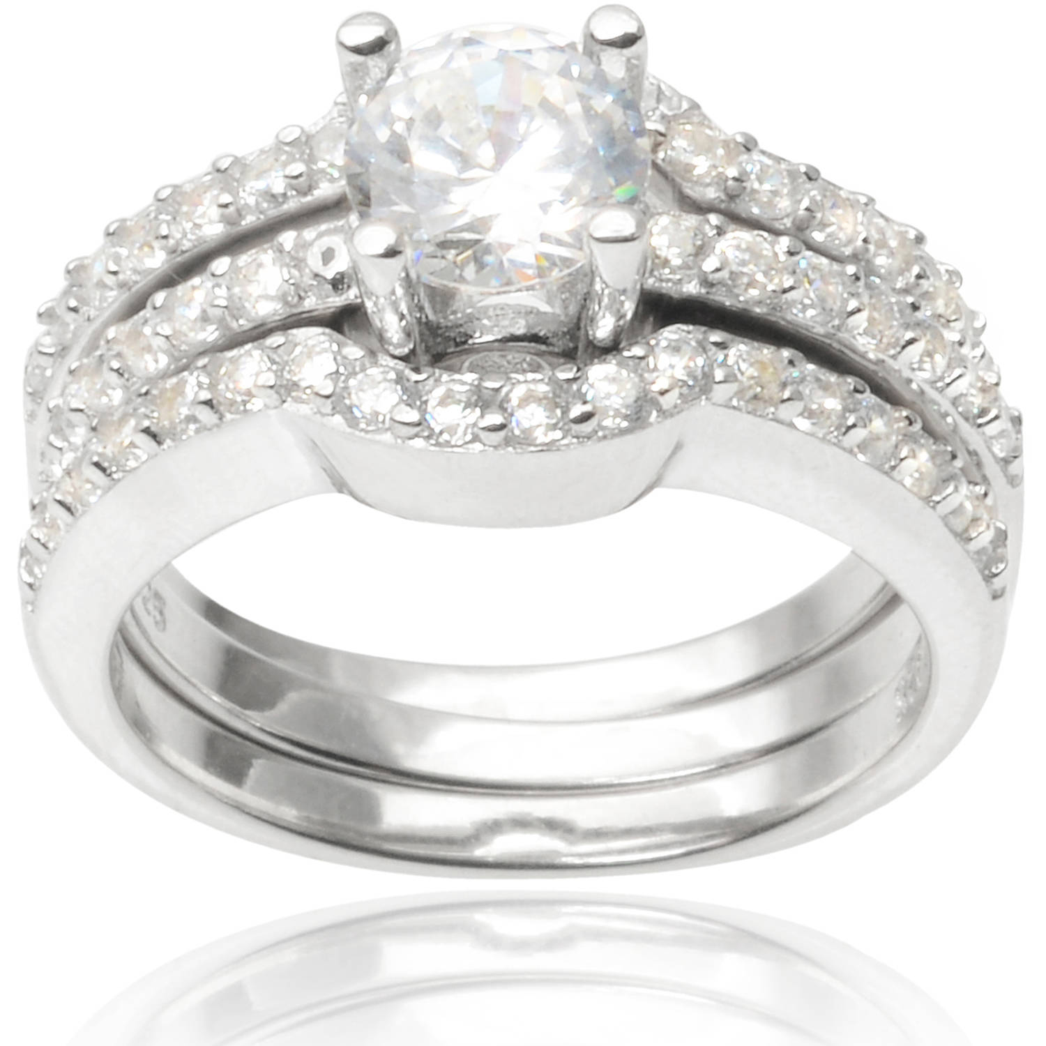 Alexandria Collection Sterling Silver 2 Carat T.G.W. Round Cubic Zirconia Bridal Ring Set