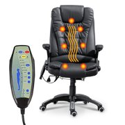 High-Back Managerial Chair Ergonomic PU Leather Heated Vibrating Massage Office Executive Chair - Black